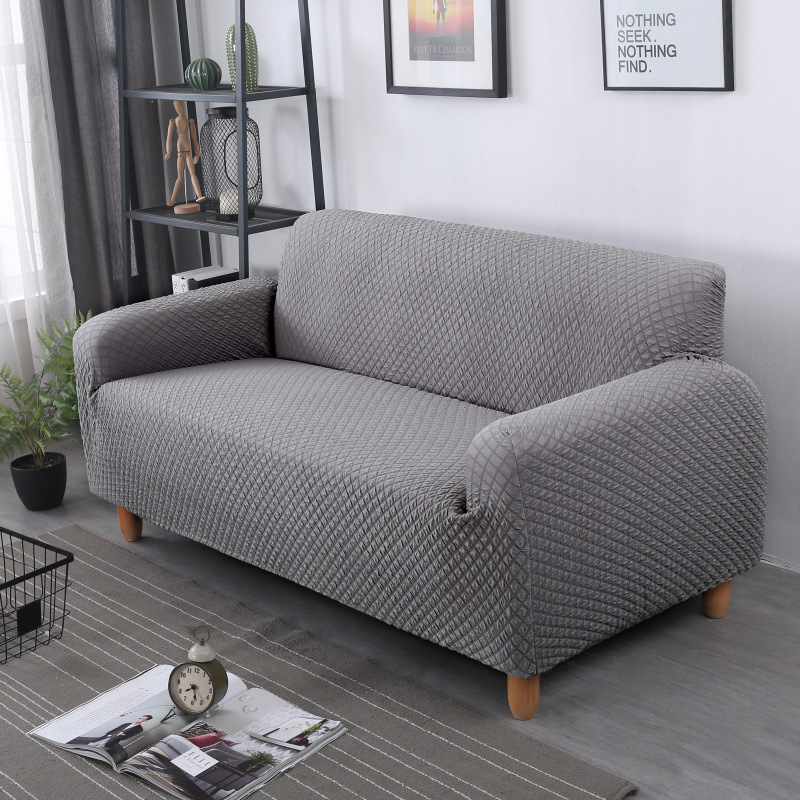 solid style knit plaid all inclusive stretch sofa cover sofa cushion Full cover thick anti slip