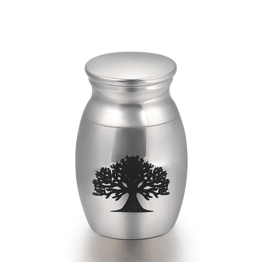 Stainless Steel Engraved Urn - Memorial Ash Keepsake - Cremation Jewelry