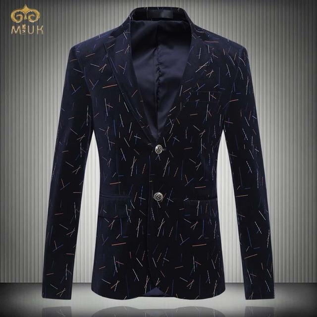 Miuk super gran tamaño de impresión traje de chaqueta de los hombres de la marca de ropa 5xl 6xl marca de ropa hombres blazer slim fit blazer masculino 2017 nuevo