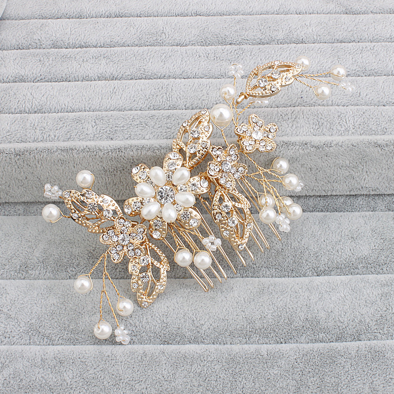 Women Lady Girls Crystal White Gold Pearl Flower Bridal Hair Combs Brides Jewelry wedding Bridesmaid accessories HX049 women girl bohemia bridal camellias hairband combs barrette wedding decoration hair accessories beach headwear