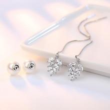 Trendy 925 Silver Earrings For Women Wedding Jewelry Luxury Ice Crystal Leaf Pearl Earring Long Ear Line Lady Engagement Gifts