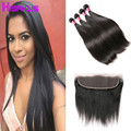 13x4 Ear to Ear Lace Frontal Closure with Bundles Peruvian Straight Virgin Hair with Closure 3 Bundles with Frontal Closure 1b#
