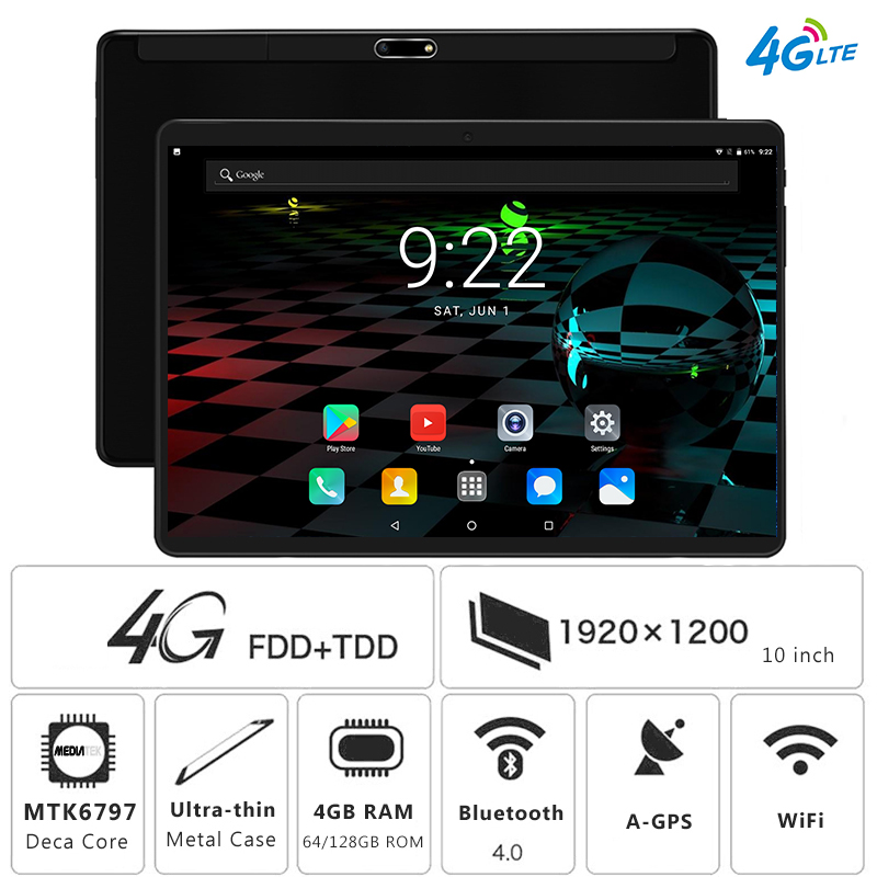 Free Shipping Deca Core 10 inch 4G LTE Tablet PC 4GB RAM 128GB ROM 1920 1200