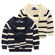 2016 Autunm Fashion Baby Boy Sweater Striped Appliques Scarf Toddler Boy Sweaters Boy Pullover Full Sleeve Casual Clothes MY28