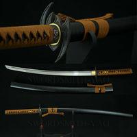 Katana completa tang 1060 aço carbono japonês samurai sword tsuba liga bat brown ito óleo temperado lâmina sharp prático faca