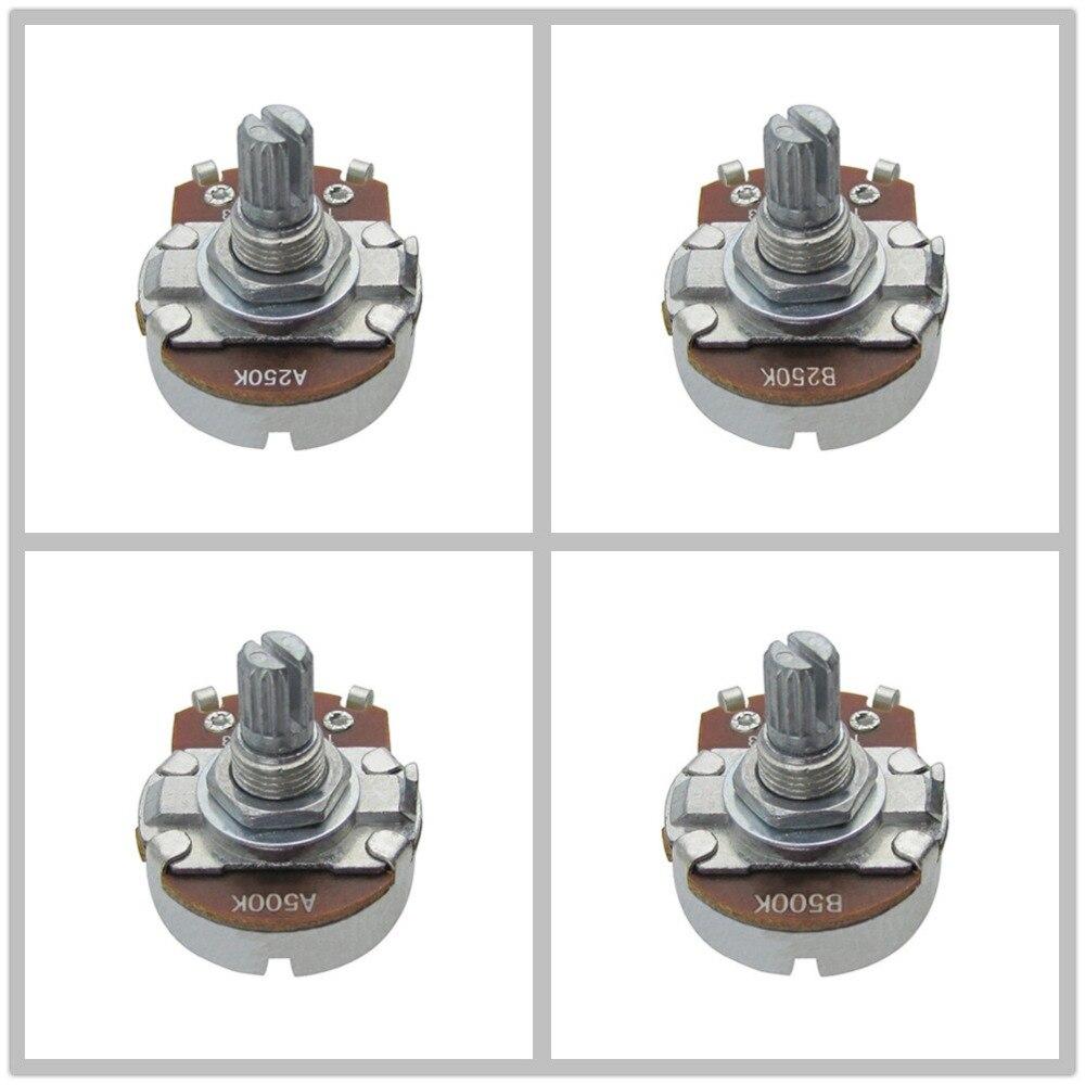 50pcs Big Size Guitar Bass Potentiometer Pots A250K B250K A500K B500K Short Split Shaft 15mm