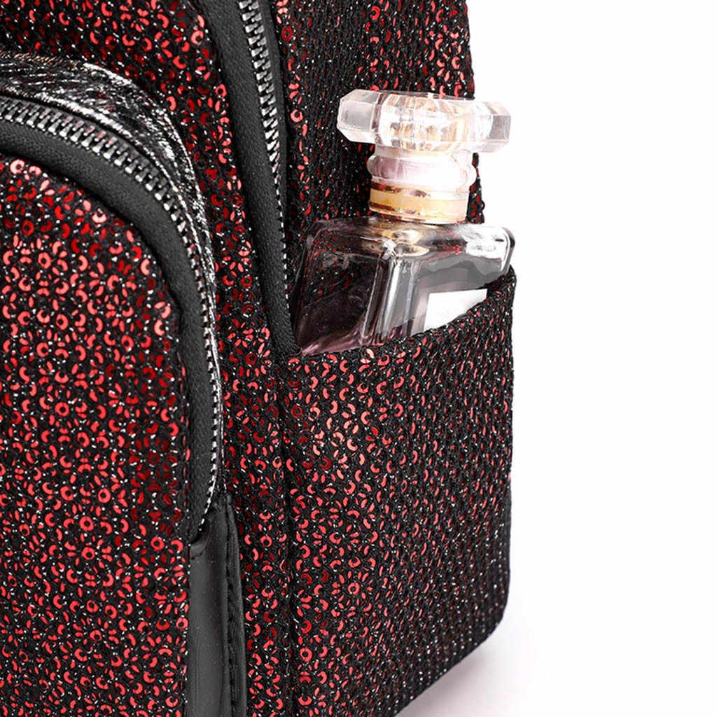 メゾン Fabre ファッション女性高品質のユースナイロンバックパック女性スパンコール大容量旅行ジッパースクールダブルショルダーバッグ