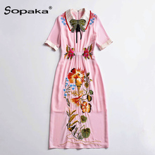 2018 Summer Casual Pink Embellished Dress Short Sleeve Empire A Line Bow Zip Floral Embroidery Quality Design Midi Women Dress все цены