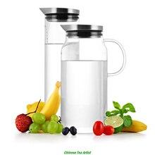 SAMADOYO Water Jug 1300ml Borosilicate Glass Water Bottle Stainless Steel Lid Modern Design Drinkware Ice Tea Water Jar Lid
