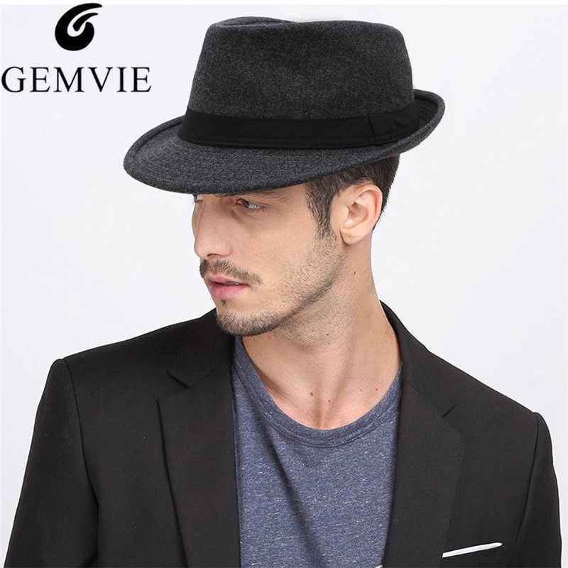216f9a3b539 GEMVIE Men Classical Jazz Cap Solid Color British Style Fedora Hat Fashion  Curved Brim Top Hat