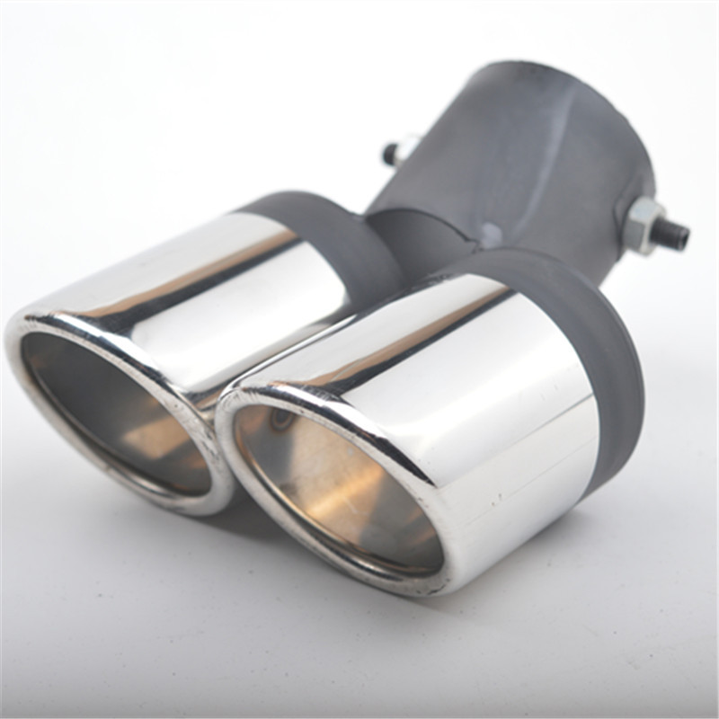 1x63mm Modification Grilled SS304 2in1 Dual Pipes Auto Exhaust Tip Muffler Cover