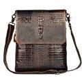 2015 ГОРЯЧАЯ НОВОЕ прибытие высокого качества из натуральной кожи сумки посыльного для мужчин Крокодил ретро моды путешествия мужчины сумки на ремне