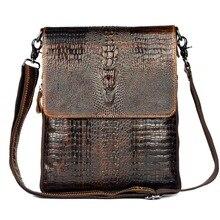 2015 HOT NEW arrivée de haute qualité en cuir véritable messenger sacs pour hommes Alligator rétro mode voyage hommes sacs à bandoulière
