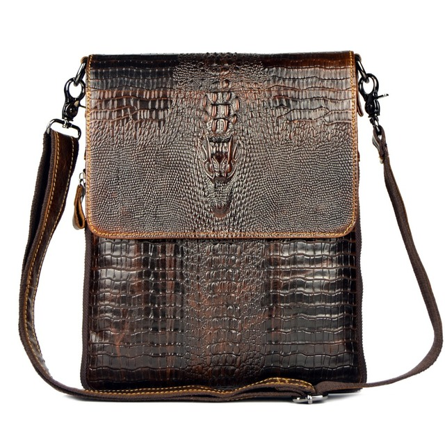 2015 HOT NEW arrival high quality genuine leather messenger bags for men Alligator retro fashion  travel men shoulder bags