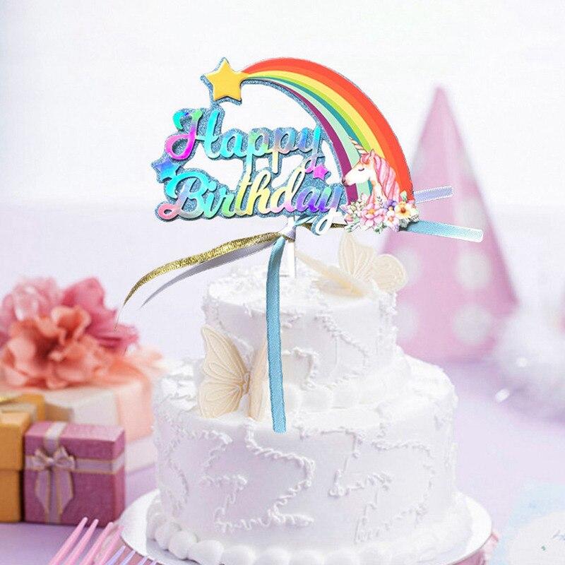Unicorn Rainbow Birthday Cake Strip Tassel Cake Topper Dessert