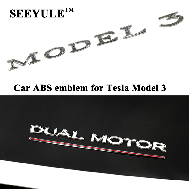 1pc SEEYULE ABS Car Model Emblem Model 3 DUAL MOTOR Sign Logo Modification Sticker Styling Accessories for Tesla Model 3