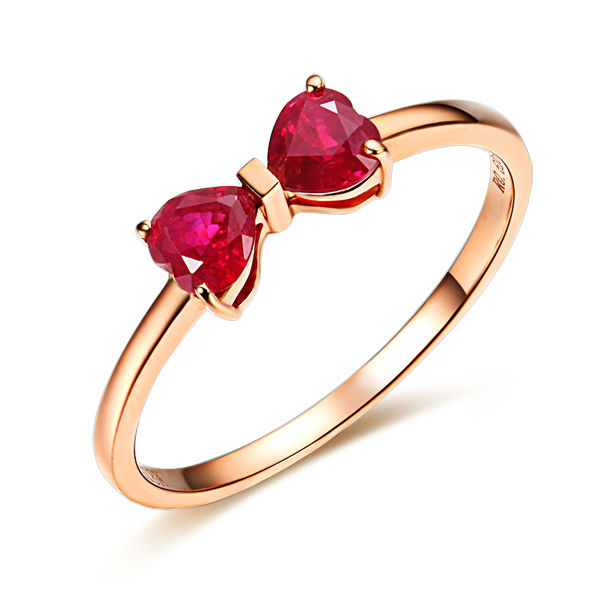 GVBORI 18K Rose Gold Natural Two Heart Ruby Gemstone Ring For