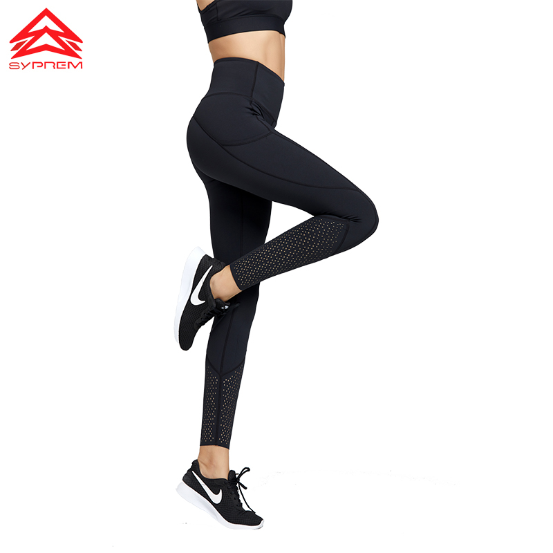 Syprem sports leggings Hollow Out Yoga Leggings High Waist Winter fitness leggings Girls Sports pants with side pocket,TK2517