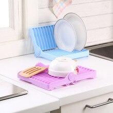 Kitchen Plate Folding Storage Rack Plastic Bracket Dish Drain Box Tray Tableware Drying Sink Tool Drip