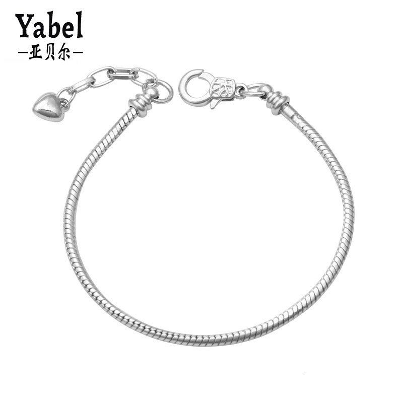 Yabel Silver Plated Original Bracelets & Bangles Snake Chain Heart Pendants Braclet Fashion Jewelry Accessories Diy Pulseiras