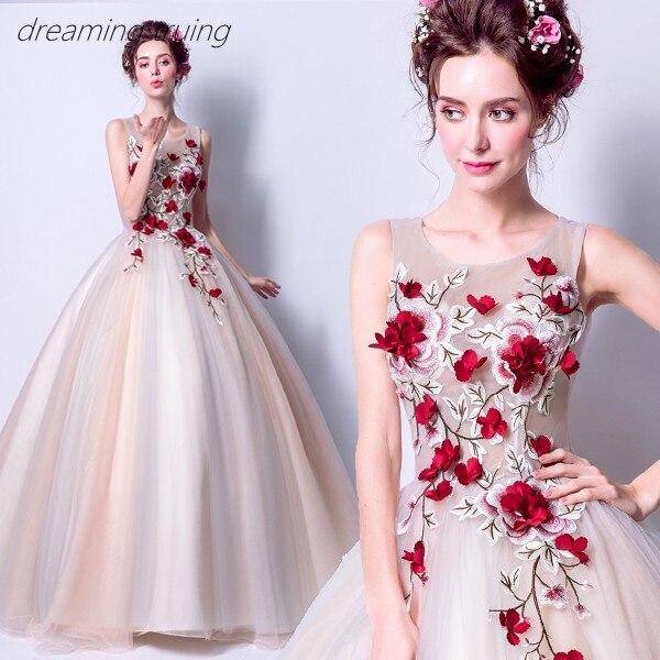 Rouge 3D fleur Quinceanera robes Vestidos De 15 Anos robes pour Quinceaneras fête Robe De Bal fille douce 16 robes Robe De Bal - 4