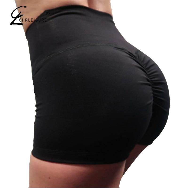 CHRLEISURE Summer Sexy Push Up Shorts Women Fashion High Waist Workout Short Solid Color Mini Short Feminino