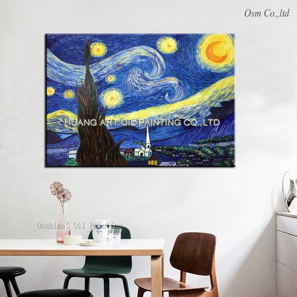 100% ručně malované vysoce kvalitní Van Gogh Starry Sky olejomalba imitace obrazů na plátně Krajina reprodukce umění