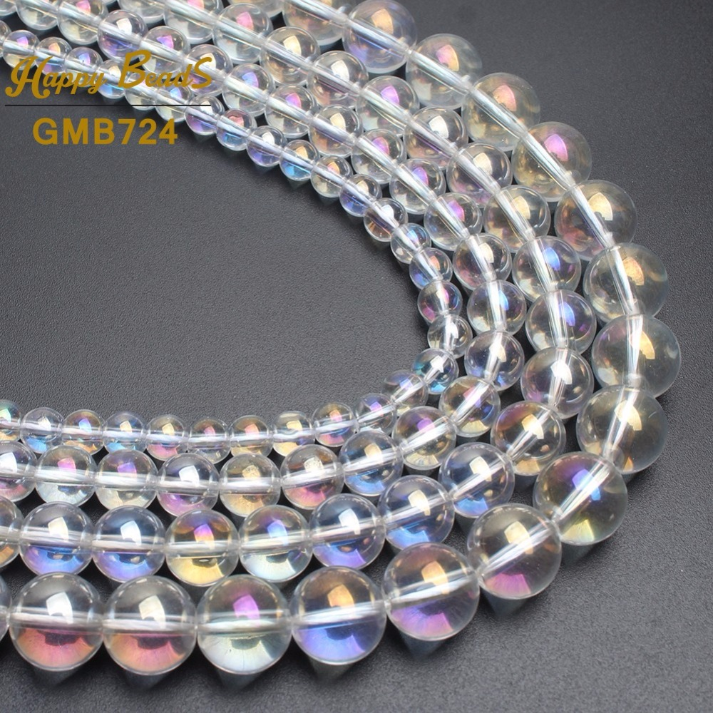 Vintage Crystal Clear GOLD REFLECTION Facet 7mm Czech Glass Beads Lot of 100pcs