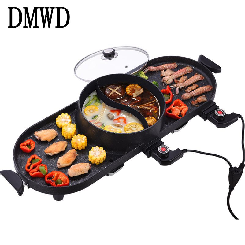DWMD Electric Grills Griddle Household BBQ Machine Raclette with Hotpot Temperature Adjustable Smokeless barbecue Pan pot 1400W automatic smokeless bbq grill household electric hotplate stove teppanyaki barbecue pan skewer machine stainless steel outdoor