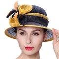 Junio de mujeres jóvenes sombreros de ala corta estampado de flores Feather decora amarillo Navy Color señora partido Formal de moda sombreros de ala del verano