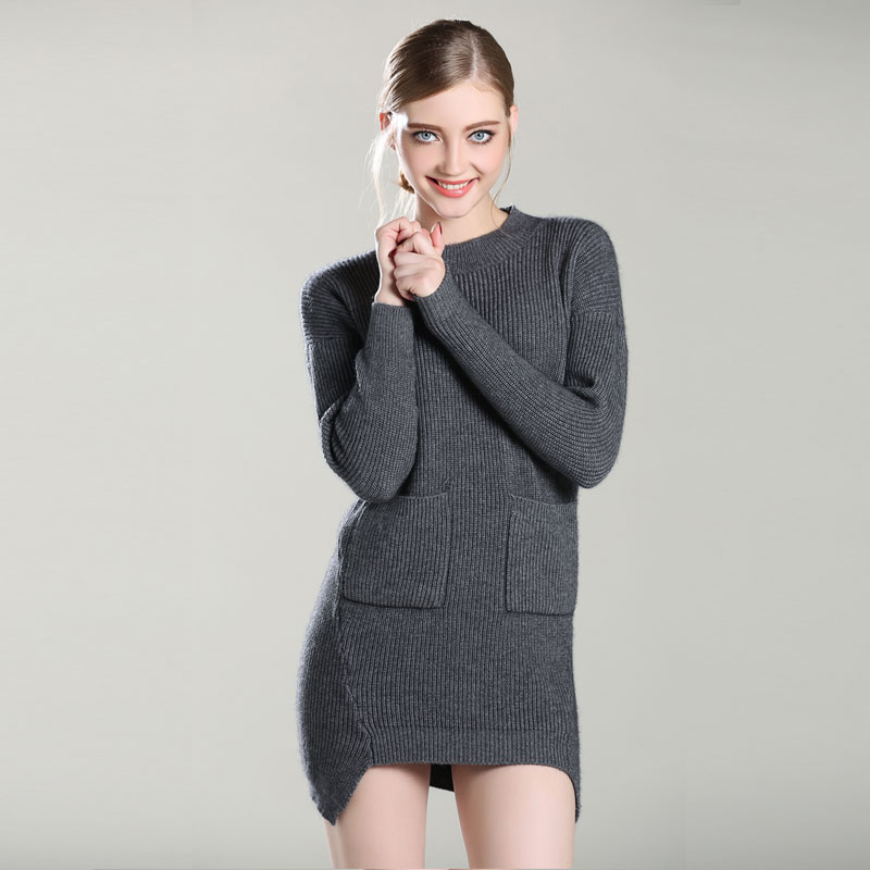 Femmes Ciel Cachemire Lady 100 O Épais Qualité ardoisé kaki Noir Chandails Robe Longue Nouveau Poche Pur Tricoté vert Top De Pulls 2017 Pour pu Cou ATna1xT