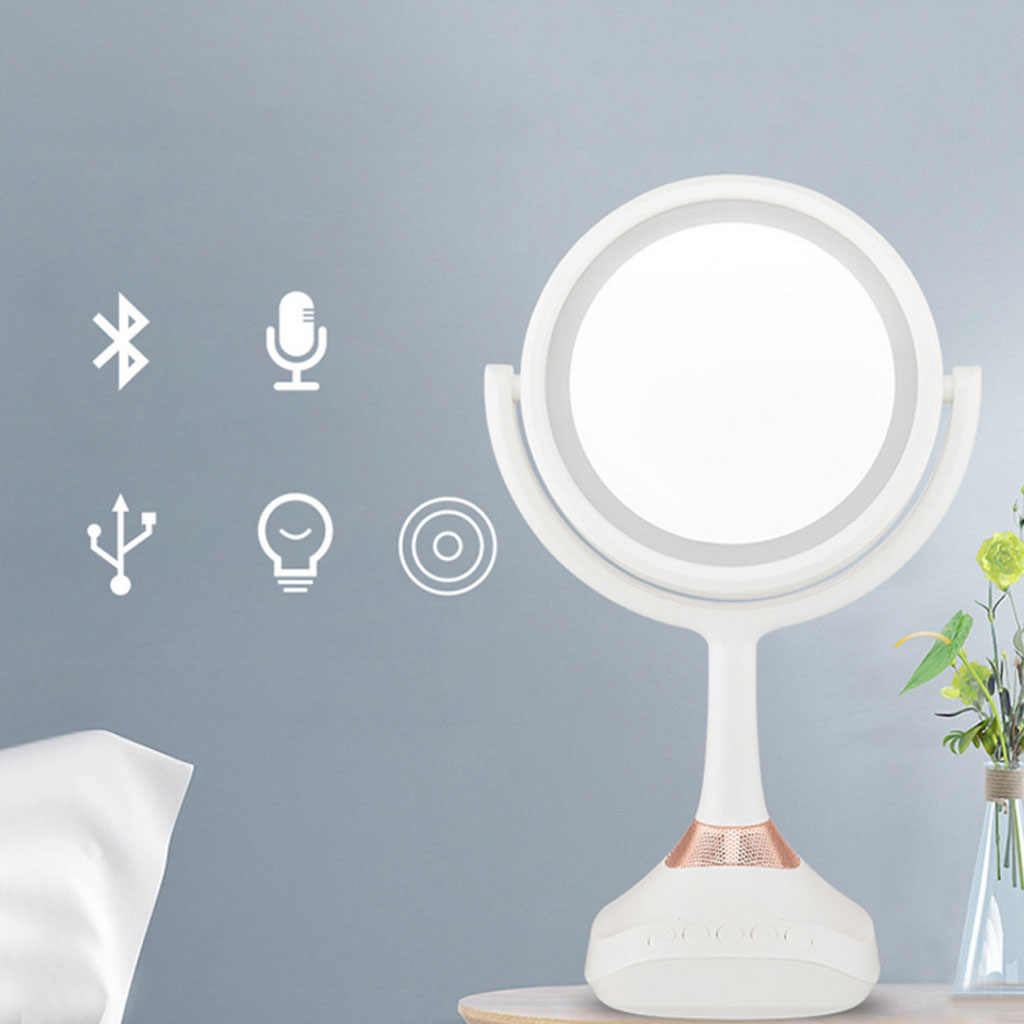 Bluetooth Speaker Makeup Mirror With Led Light Multifunction