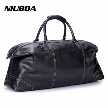 กระเป๋าเดินทาง Multifunction Men 100% ของแท้หนังกระเป๋าเดินทางขนาดใหญ่กระเป๋าถือธรรมชาติกระเป๋าสำหรับ...