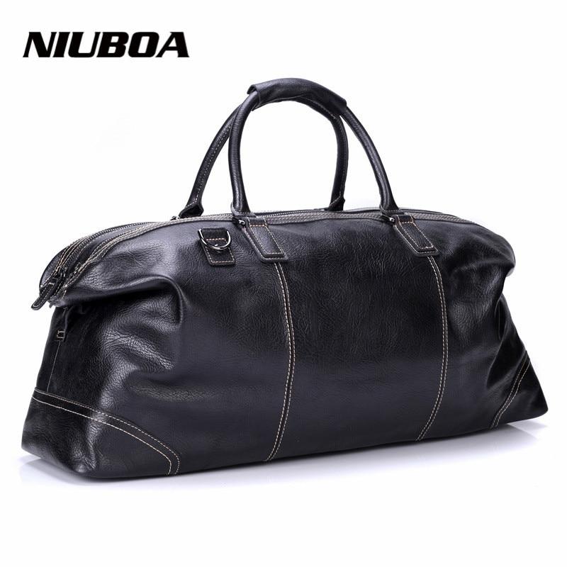 NIUBOA Men Travel Bags Multifunction Men 100% Genuine Leather Travel Bag Big Capacity Handbag Natural Tote Bag For Business Man