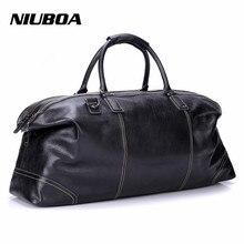 NIUBOA Men Travel Bags Multifunction Men 100% Genuine Leather Travel Bag Big Capacity Handbag Tote Bag For Business Man