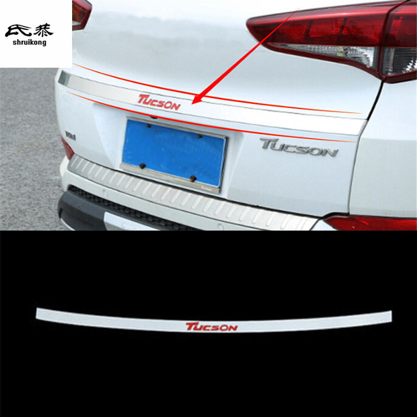 Free shipping 1pc stainless steel rear trunk door sill decoration cover for 2015 2016 2017 <font><b>2018</b></font> <font><b>Hyundai</b></font> <font><b>Tucson</b></font> car accessories image