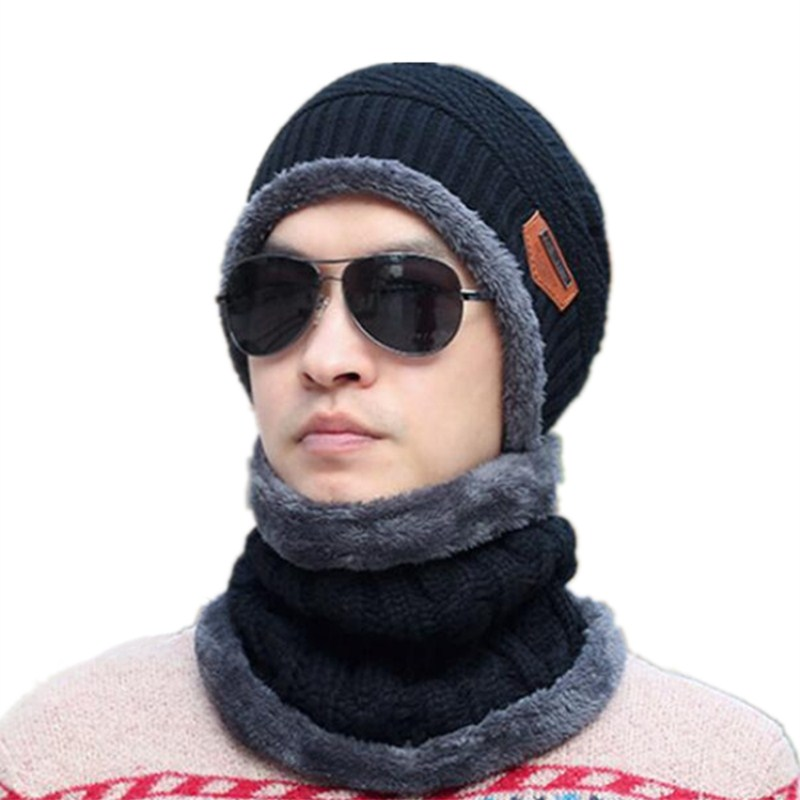 Seioum Balaclava Knitted hat scarf caps neck warmer Winter Hats For Men women   skullies     beanies   warm Fleece cap