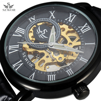 SEWOR Classic 3d Logo Design Hollow Engraving Black Case Leather Rome Skeleton Mechanical Watches Men Luxury