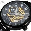 SEWOR Classic 3d Logo Design Hollow Engraving Black Case Leather Rome Skeleton Mechanical Watches Men Luxury Brand Heren Horloge