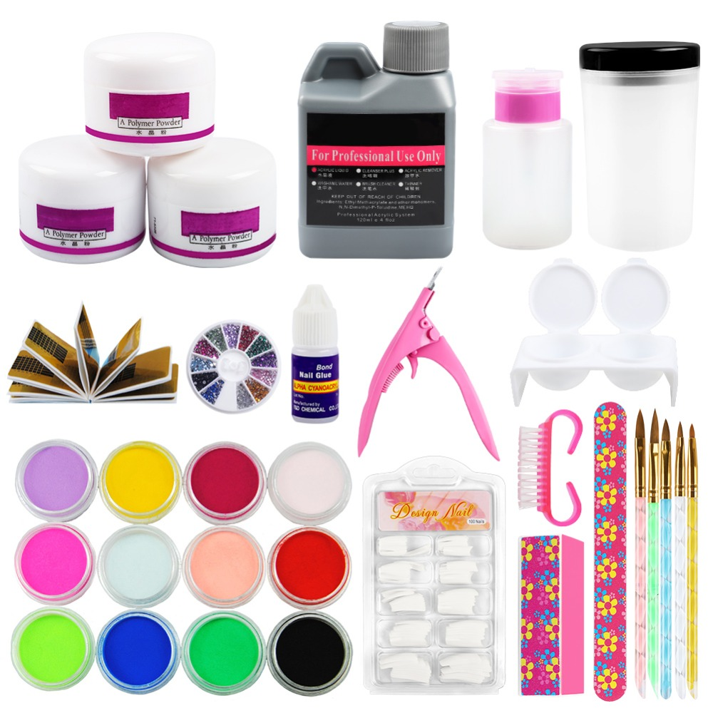 Acrylic Nail Set Acrylic  Powder Nail Art Tools DIY Kit Pen Dappen Dish False Nail Tips Brush Holder Glue ToolsAcrylic Nail Set Acrylic  Powder Nail Art Tools DIY Kit Pen Dappen Dish False Nail Tips Brush Holder Glue Tools