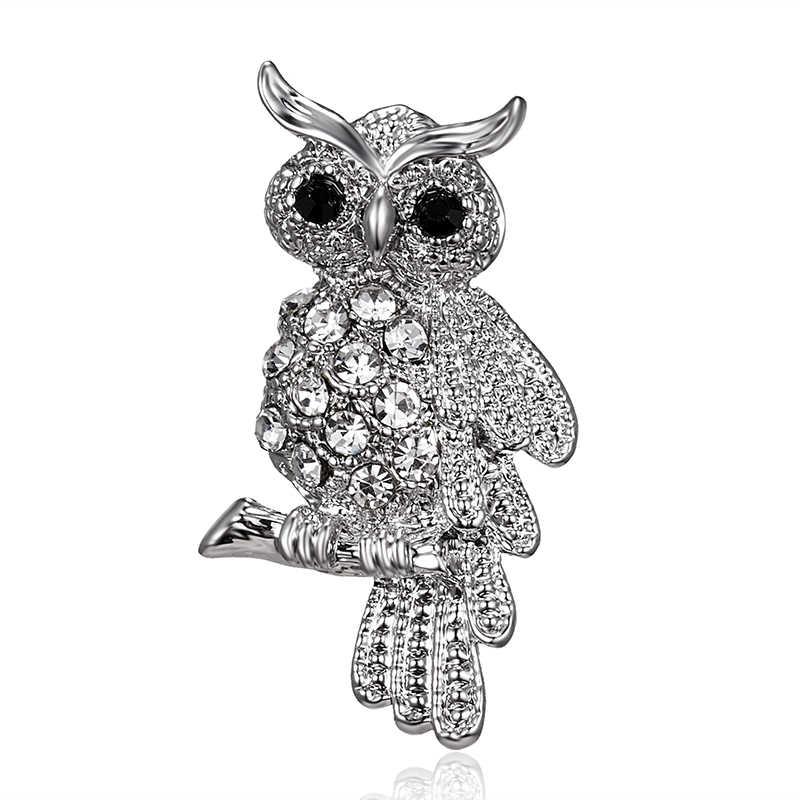 ファッション鳥フクロウクリスタルラインストーンブローチアンティークブローチピン女性の結婚式の花嫁の宝石