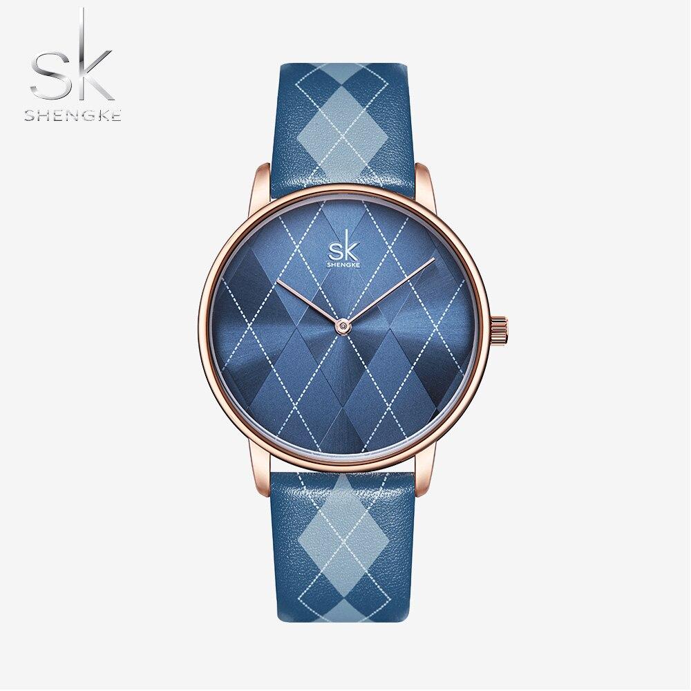 Shengke Women Watch Plaid Leather Girl Wristwatch Lady Clock Brand Wristwatches Clock Montres Femme Reloj Mujer