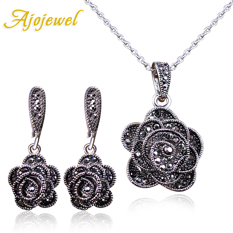 Ajogem marque Parure Bijoux élégant cristal Rose fleur collier boucles d'oreilles noir Vintage Bijoux ensembles pour les femmes