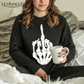 H1201 Women's O-neck Fashion Sweatshirts Punk Skull Bone Print Hoodies Plus Size Pullovers