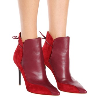 2019 Design Patchwork Ankle Boots For Women Suede Leather Gladiator Black Red Short Booties Pointy Toe Lace Up Dress Shoes Women