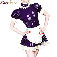 Latex Lolita Laced Dresses with Apron Cosplay Dress Costumes LD249