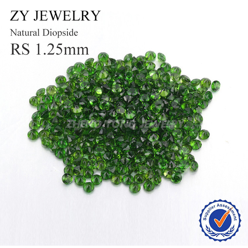 Hot Sale 1.25mm Round Brilliant Cut Natural Diopside Stone For Jewelry Making