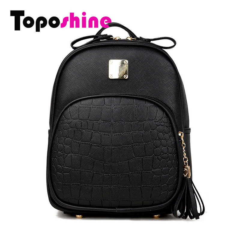 Toposhine 2017 New Korean Backpacks Fashion PU Leather Shoulder Bag Crocodile Pattern Small Backpack Embossed School Bags 1560