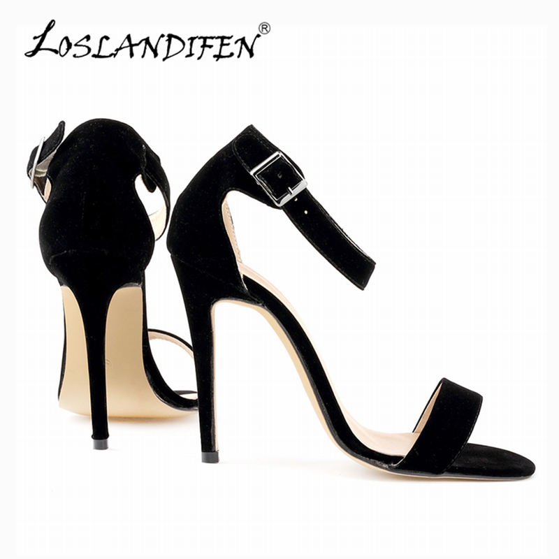 Sexy Women Sandals Flock Ankle Strap High Heels Pumps Lady Open Toe Party Bridal Female Shoes US Size 4-11 and 14 color 102-3VE lady red pleather point toerivets ankle strap comfortable high heels sexy pumps shoes for woman party