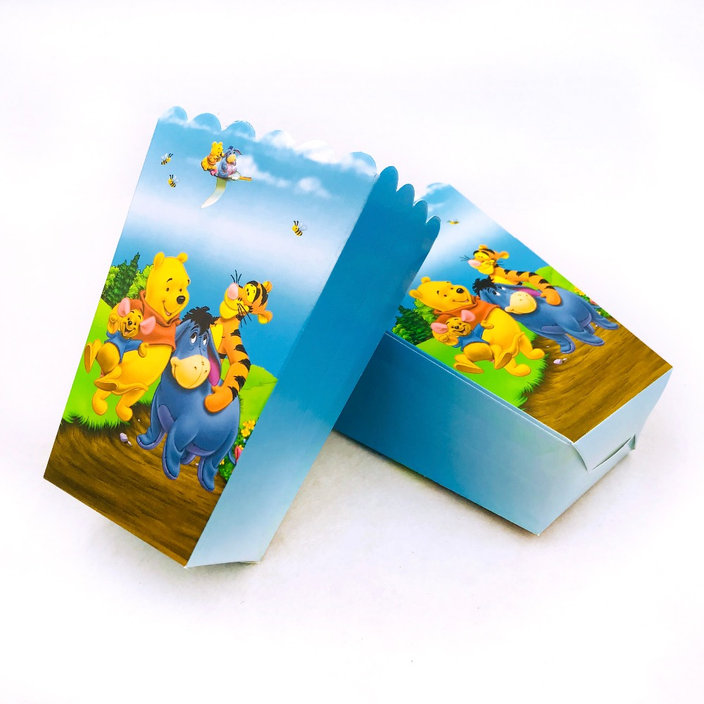 6pcs/set Winnie And Pooh Popcorn Box  Party Supplies  Kids Birthday Case Gift Box Favor AccessoryBirthday Party Decoration